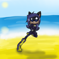 Comp: Running on the beach by Scarlettthedarkwolf