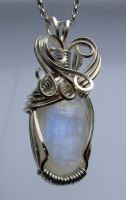 Moonstone Wrapped in Silverplated Wire by crystalpanther2