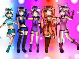 Mew Magic Starz Group Pose by aurorastar21