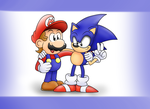 Sonic and Mario by ClassicSonicSatAm