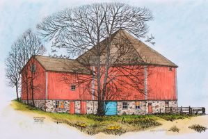 Octagon Barn - 1981 by WayneHuebner