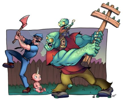Axecop Vs. Zombies by thisisnotnoah