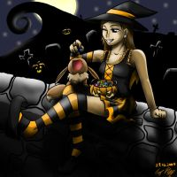 Jini and I in Halloween Town by Kirame90