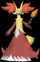 Delphox model done 2 by javierini