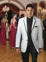 Jean Yves two Button White Savoy Tuxedo with Black by mensusasuits