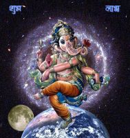 Ganesha Dancing on the World by moonqueen