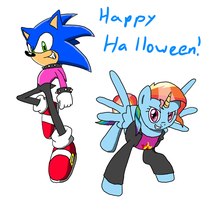 Sonic and Rainbow Dash: Halloween 2013 by MegaArtist923