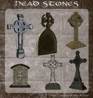3D Head Stones by zememz