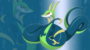 shiny Serperior wallpaper by Elsdrake