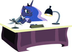 Princess Luna At Her Desk by PinkiePizzles