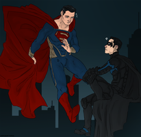 Superman VS Batman by LadyNorthstar
