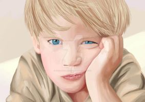 Digital painting of a boy by thetravellersloft