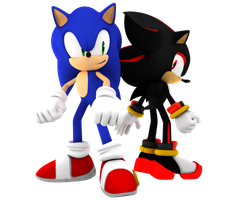 Sonic And Shadow Fight Back To Back by Nibroc-Rock
