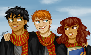 Harry, Ron and Hermione by lauu7