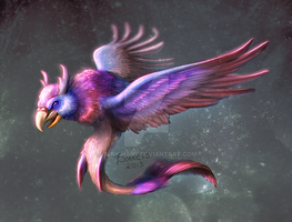 Flying bird creature by BonkiHart