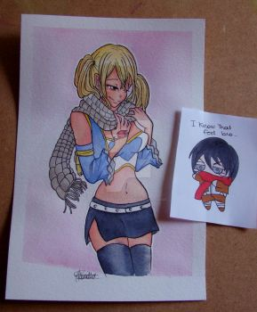 Lucy with Natsu's scarf, oh and Mikasa infiltrated by middleofadream