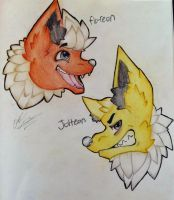 jolteon and flareon by Candycorps
