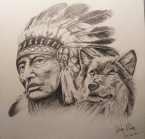 Indian and wolf by Dia-Yama073