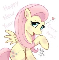 Fluttershy Happy New Year 2012 by Joakaha