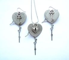 Key to the Heart Necklace Earring set - back by bahgee