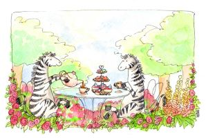 Zebra Tea Party by Reine-Haru