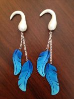 Blue Feather Earrings by Gatobob