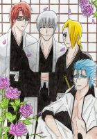 Aizen, Gin, Izuru and Grimmjow by Jusace