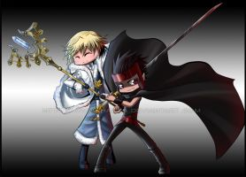 Kurogane and FayFaiFye chibi by HellyonWhite