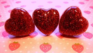 Red glitter heart rings by The-Cute-Storm