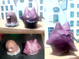 Gengar and Diglett clay by Mythee