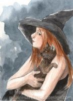 A witch and her cat  ACEO by Pannya