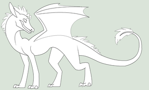 BOUGHT - OLD Dragon Lineart by RukaSwift
