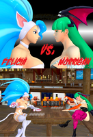 Felicia vs. Morrigan: Drinking Match! by NekoHybrid
