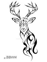 Tribal Deer Tattoo by blackbutterfly006