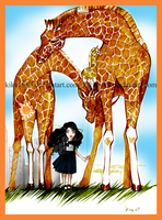 walking with giraffes by kika1983