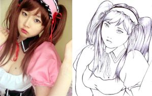 korean cosplayer 3 - line art by karlonne