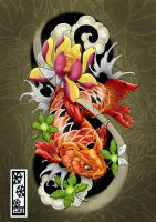 koi tattoo flash by tylerrthemesmer