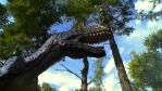 Allosaur in the forest by Blade-of-the-Moon