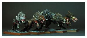 Mordheim Dire Wolves by DorianM