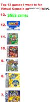 My Top 13 games for VC on 3DS by rabbidlover01
