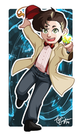 Chibi Eleventh Doctor Badge by TwinEnigma