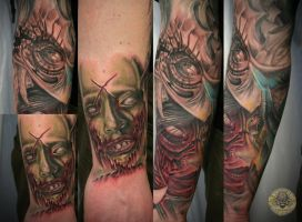 sleeve zombie bloody face eye by 2Face-Tattoo