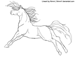 Energetic horse lineart by Nimmi1