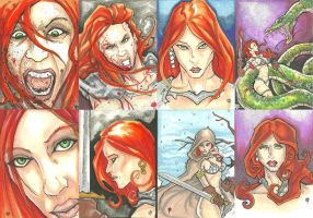 Red Sonja sketch cards by ChrisOzFulton