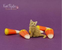 Trick or treat? Miniature Kitten sculpture... by Pajutee