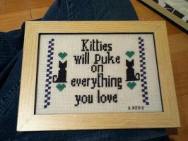 Kitty Puke Cross-Stitch by Literatic