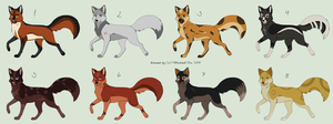 Adoptable-Foxes by Karu12