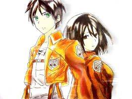 Attack On Titan Eren Jaeger and Mikasa Ackerman by Crystallstar26