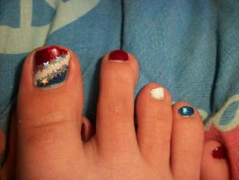 Fourth Of July Toe Nails by QueenAliceOfAwesome