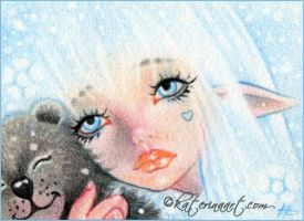 Winter Hugs ACEO by Katerina-Art